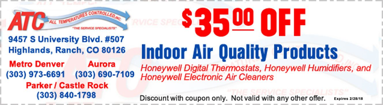All Temperatures Controlled Coupons $35 off Indoor Air Quality Products